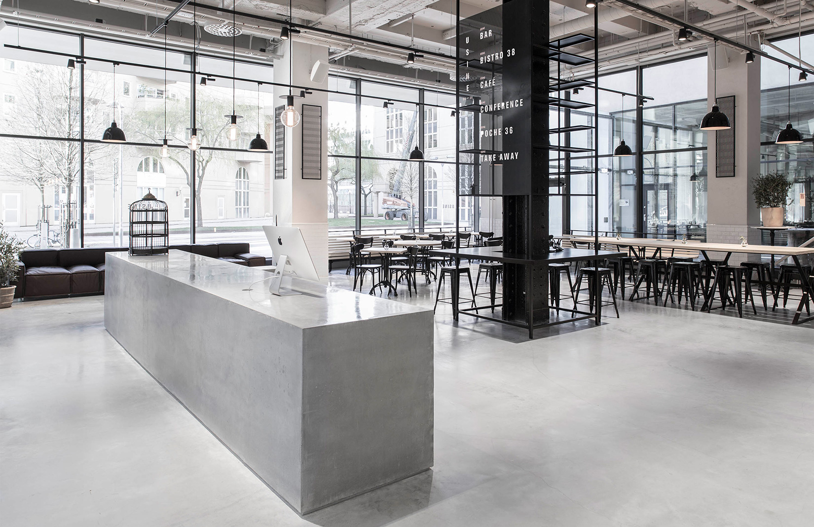 usine restaurant transforms a stockholm sausage factory. Black Bedroom Furniture Sets. Home Design Ideas
