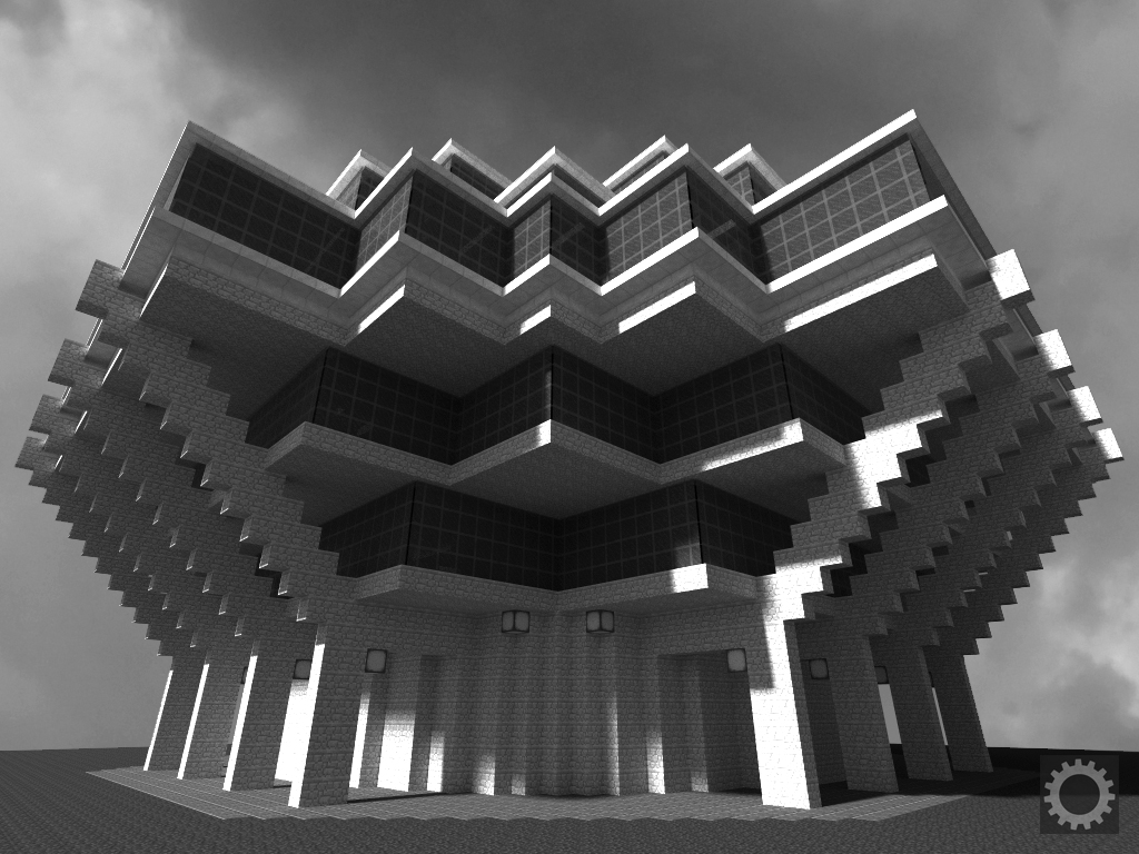 Gamers design Brutalist buildings on Minecraft