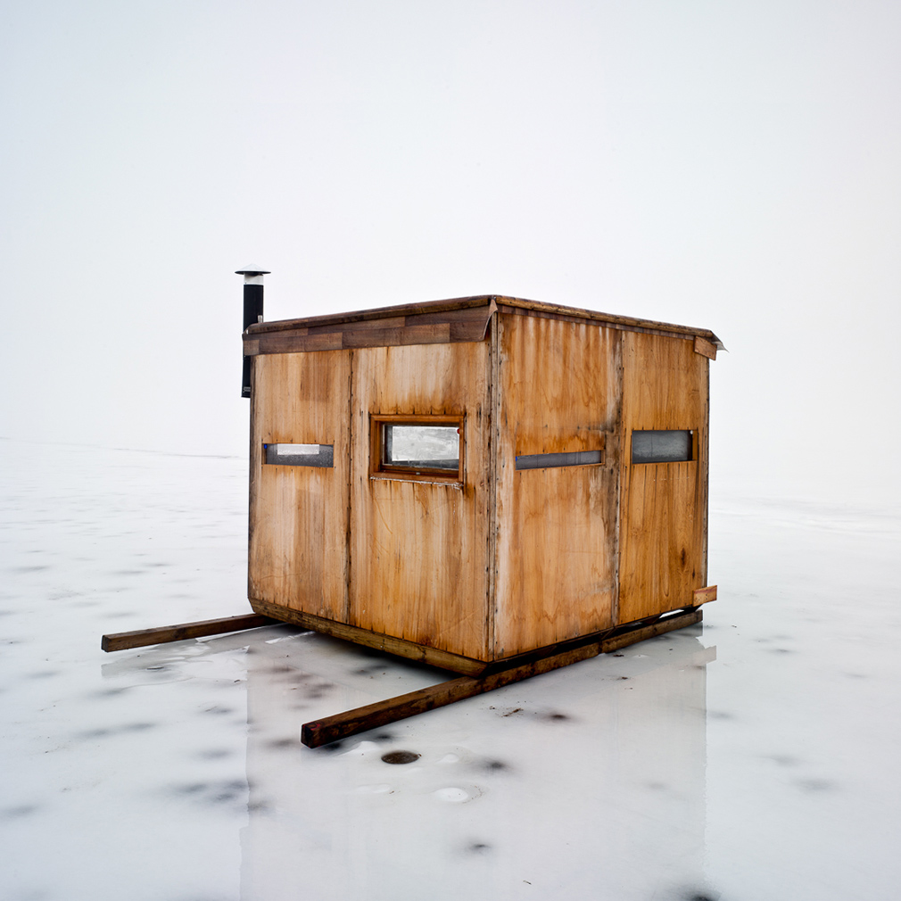 mike rebholz photographs the ice fishing huts of wisconsin