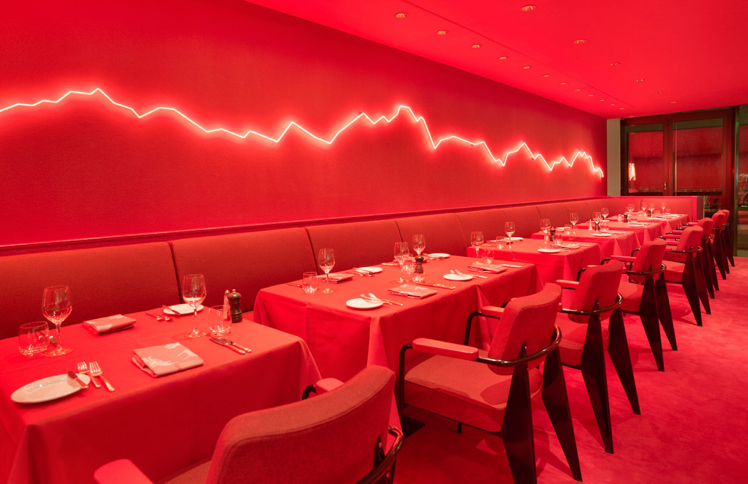 Rolf sachs mixes neon and red hot hues inside zurich