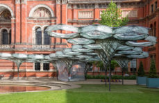 Watch robots build a flying beetle-inspired pavilion at the V&A