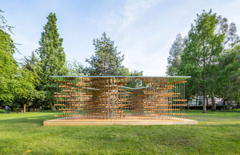 Five Line Projects creates a pavilion of bamboo pinwheels in London's Museum Gardens