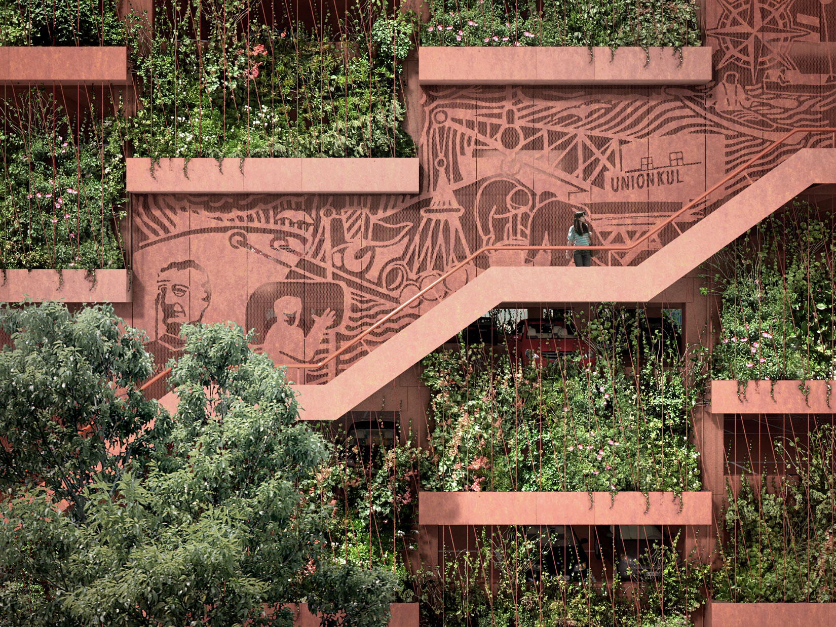 JAJA Architects Copenhagen - exterior of carpark facade (render)
