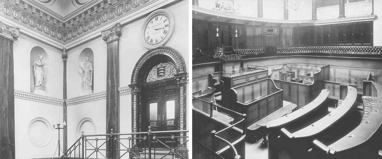 Left: Middlesex Sessions House, entrance hall, 1914. East end, showing door to second court-room, and statues by Domenico Brucciani, 1859–60. Right: The principal court-room in 1914. Photography: British History Online