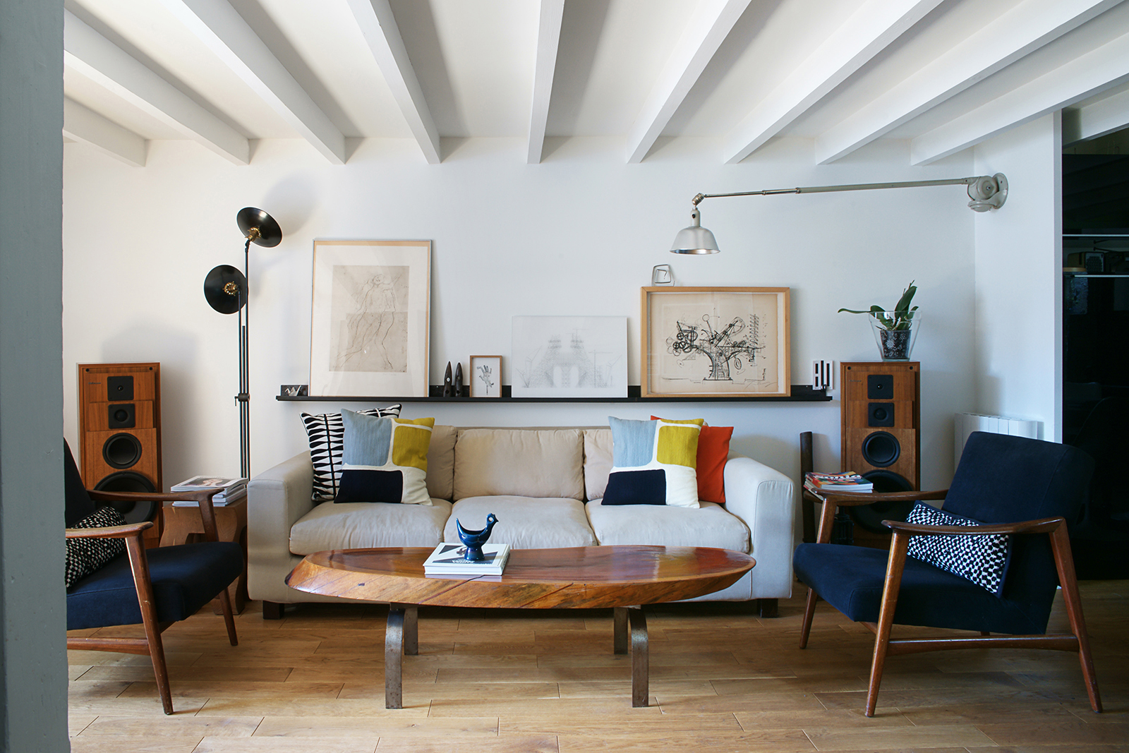 danish living room. The main living space includes 1960s Danish armchairs  a 70s coffee table floor Inside the room of Olivier Abry Wo We Spaces July