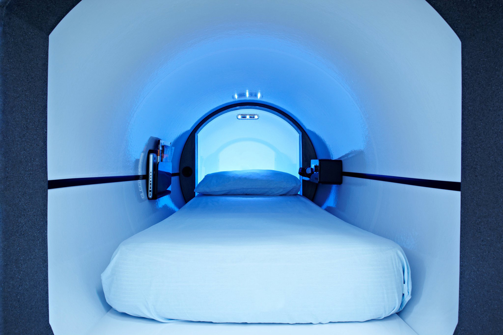 Inside a Podtime sleeping capsule. The company counts Facebook among its customers