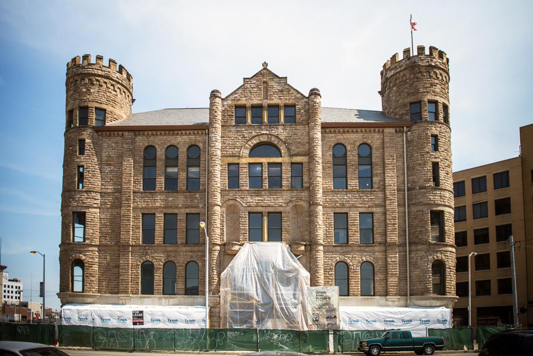 The G.A.R Building, home to Republic Tavern, being restored in 2013.