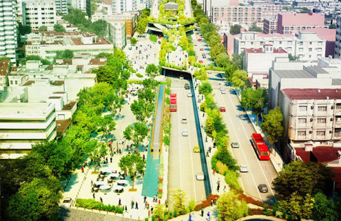 Fernando Romero unveils linear park for historic Mexico City road