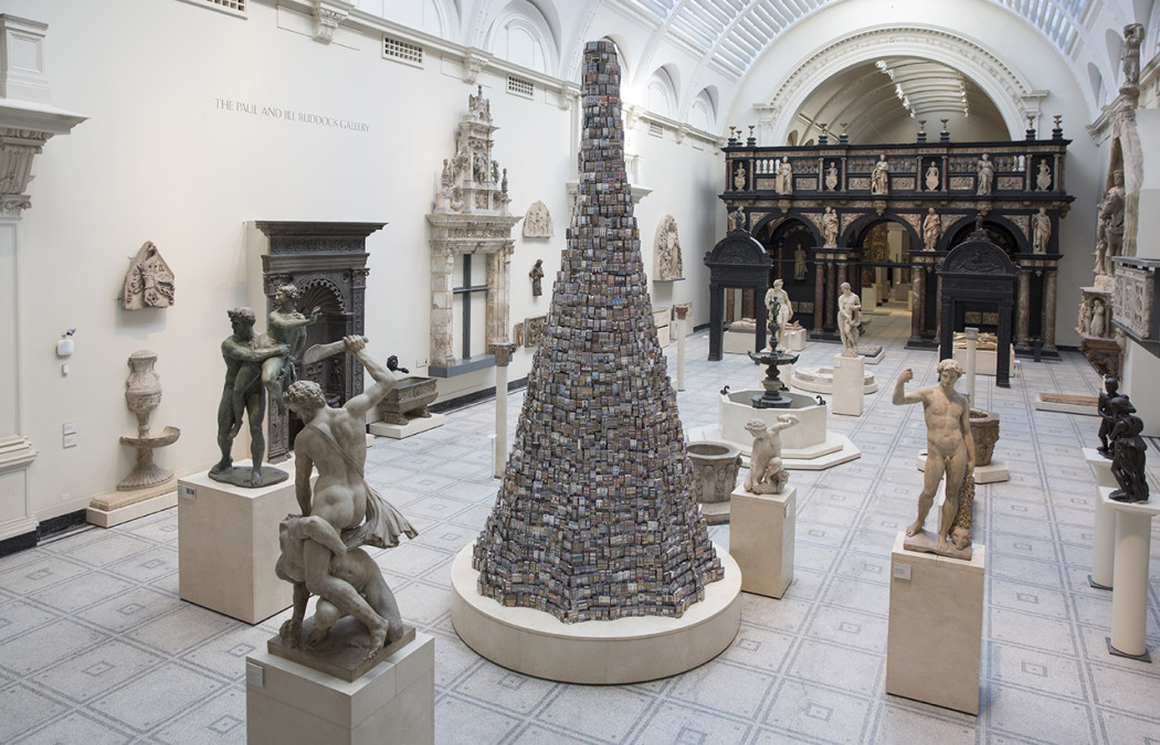 Installation view of The Tower of Babel. Image: Courtesy of the artist and the V&A