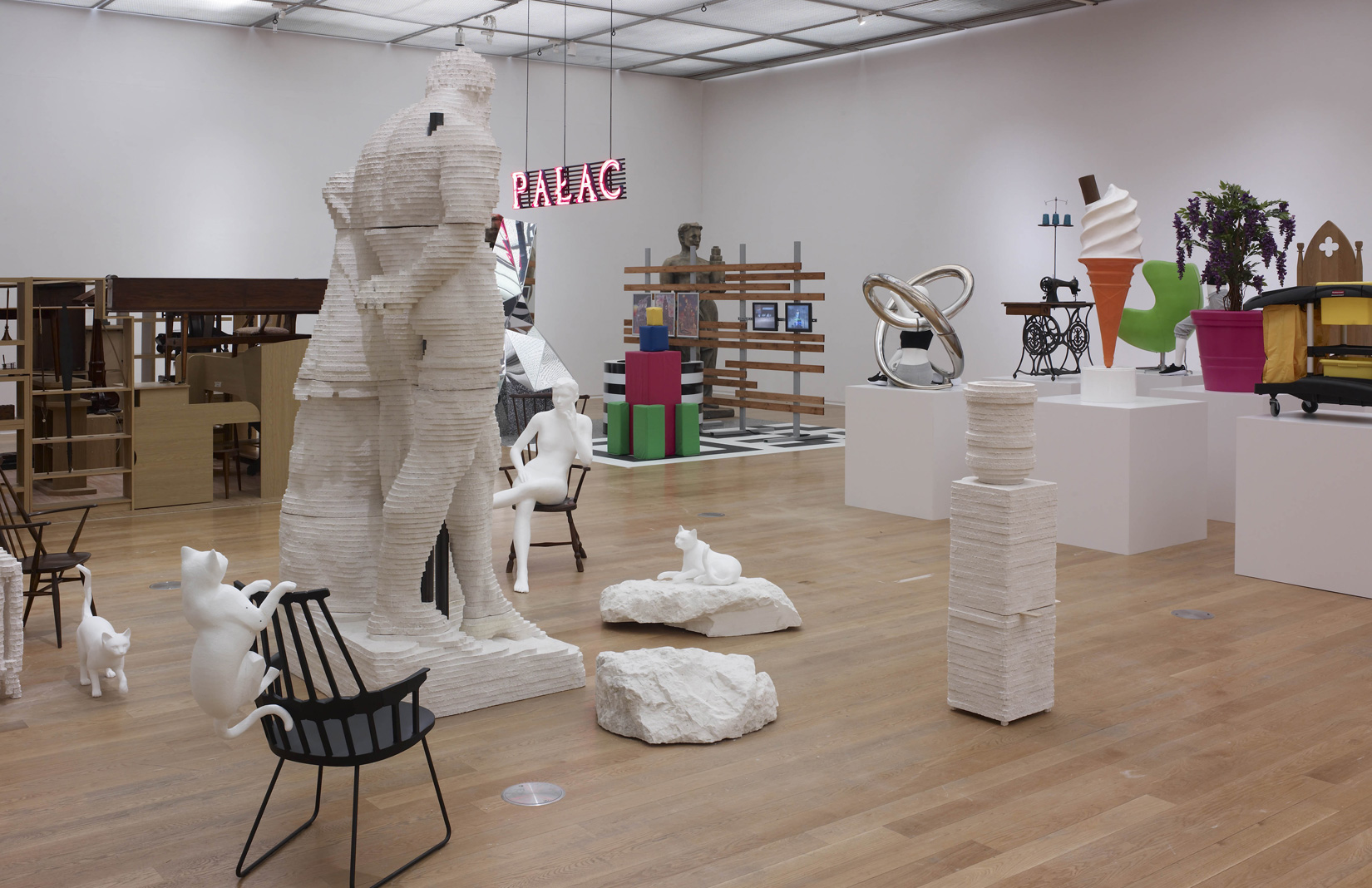 Installation view of Matthew Darbyshire's An Exhibition for Modern Living at Manchester Art Gallery. Photography: Michael Pollard. Courtesy of the artist and Manchester Art Gallery