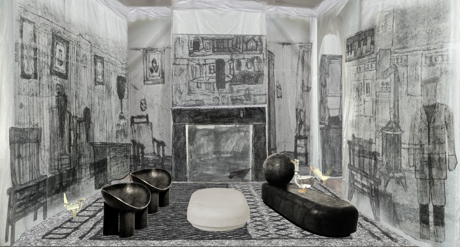 A render of Faye Toogood's 'Drawing Room' at Somerset House. Courtesy of London Design Festival