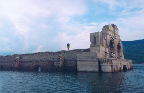 Abandoned church appears from the depths of a Mexican reservoir