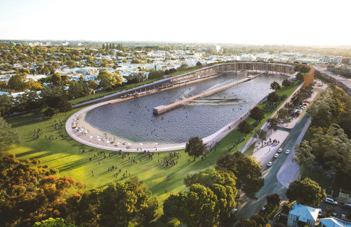 MJA Studio wants to build a surf park from the ruins of a football stadium