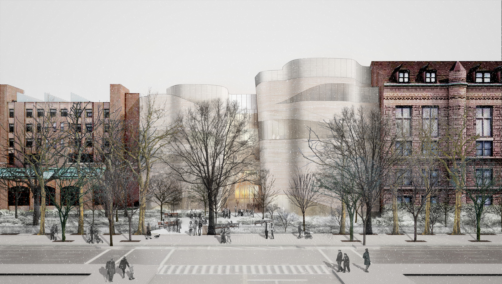 Proposed I5.Proposed Façade Concept on West Side of 79th Street. Courtesy of the American Museum of Natural History
