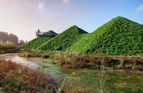 Grass pyramids crown the revamped Biesbosch Museum