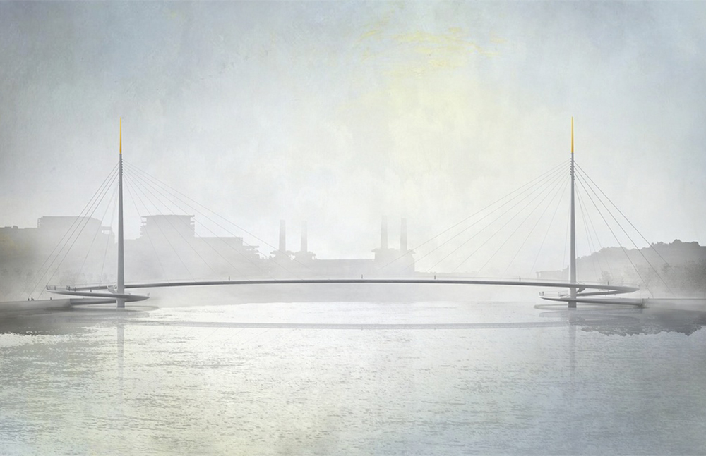 Nine Elms to Pimlico bridge proposal by Bystrup Architecture Design and Engineering, with Robin Snell & Partners, Sven Ole Hansen ApS, Aarsleff and ÅF Lighting