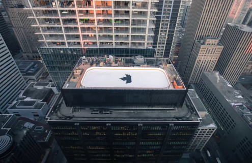 An ice hockey rink lands atop a Toronto tower