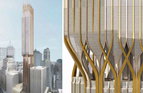 Golden supertall tower planned for NYC's 45 Broad Street