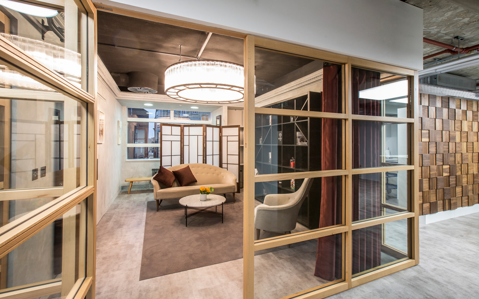 A meeting room, which takes cues from a Japanese Shoji