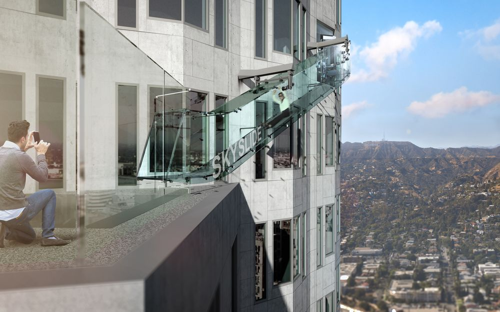 US Bank Tower slide in Downtown LA
