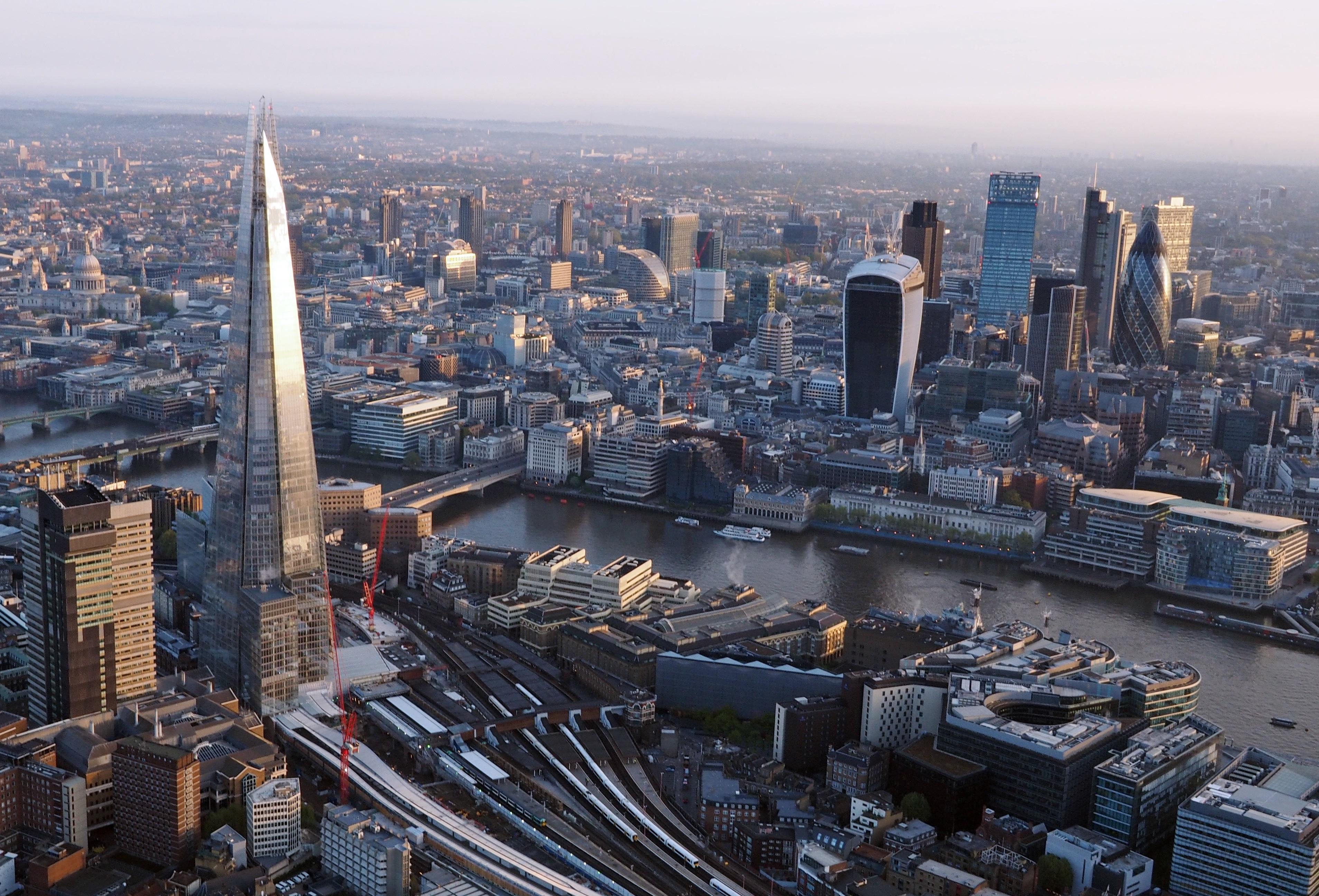 London from a hot air balloon.