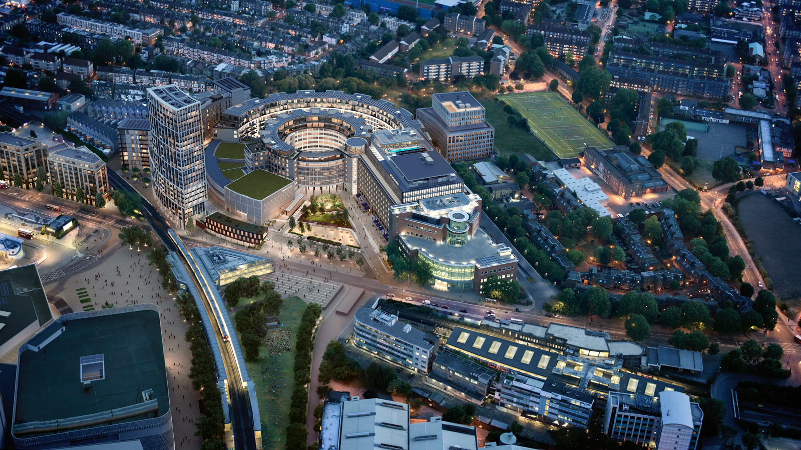 Aerial render of the Television Centre. Courtesy of Television Centre / Stanhope