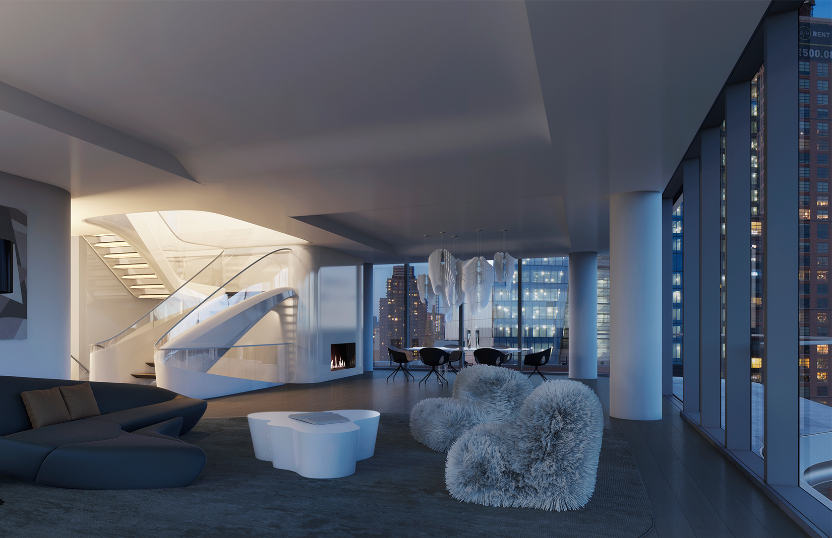 Penthouse at zaha hadid s only new york residential for Zaha hadid new york apartment
