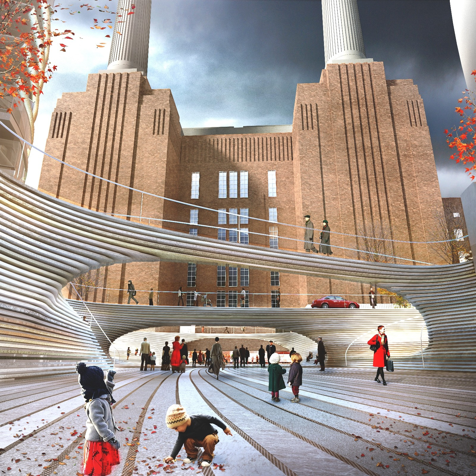 A civic square designed by BIG in Battersea Courtesy of Battersea Power Station Development Company