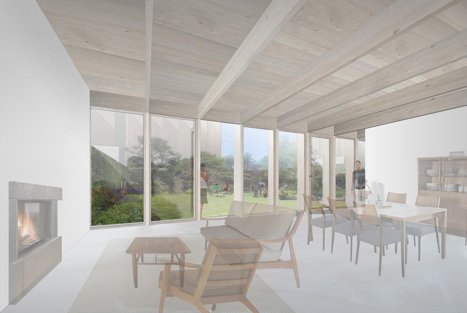 Jamie Fobert Architects's custom-build, affordable cottage's interior. Courtesy of JFA / RIBA