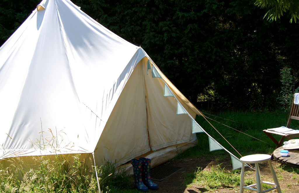 A bell tent. Pitch yours via Campinmygarden