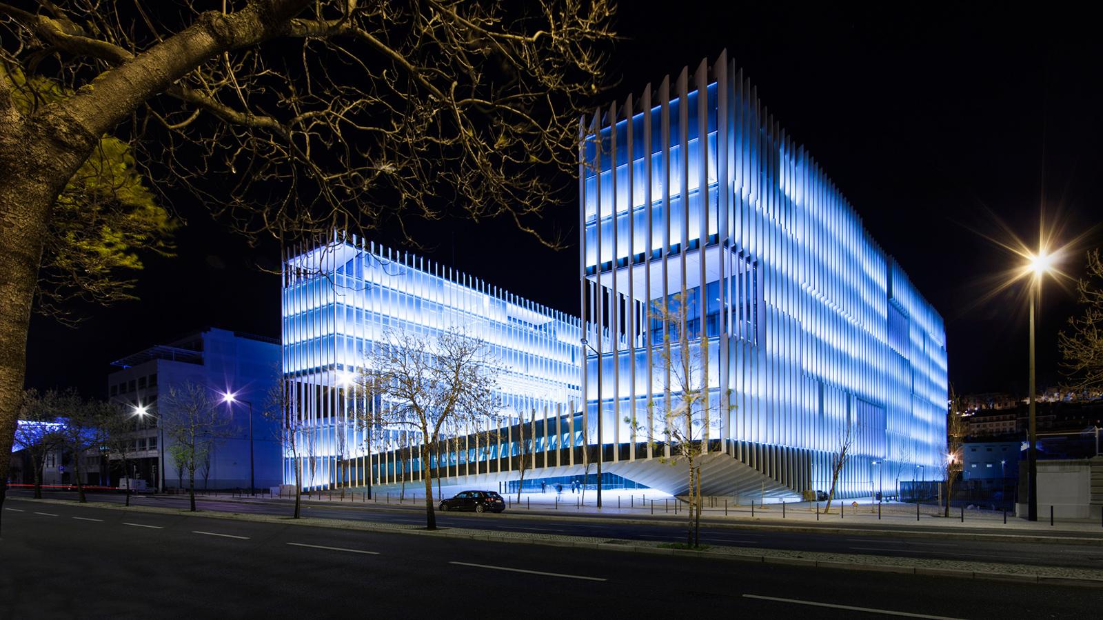 Energias de Portugal headquarters in Lisbon at night