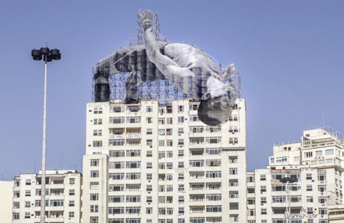 JR installs two giant athletes in sites across Rio for the Olympics Games