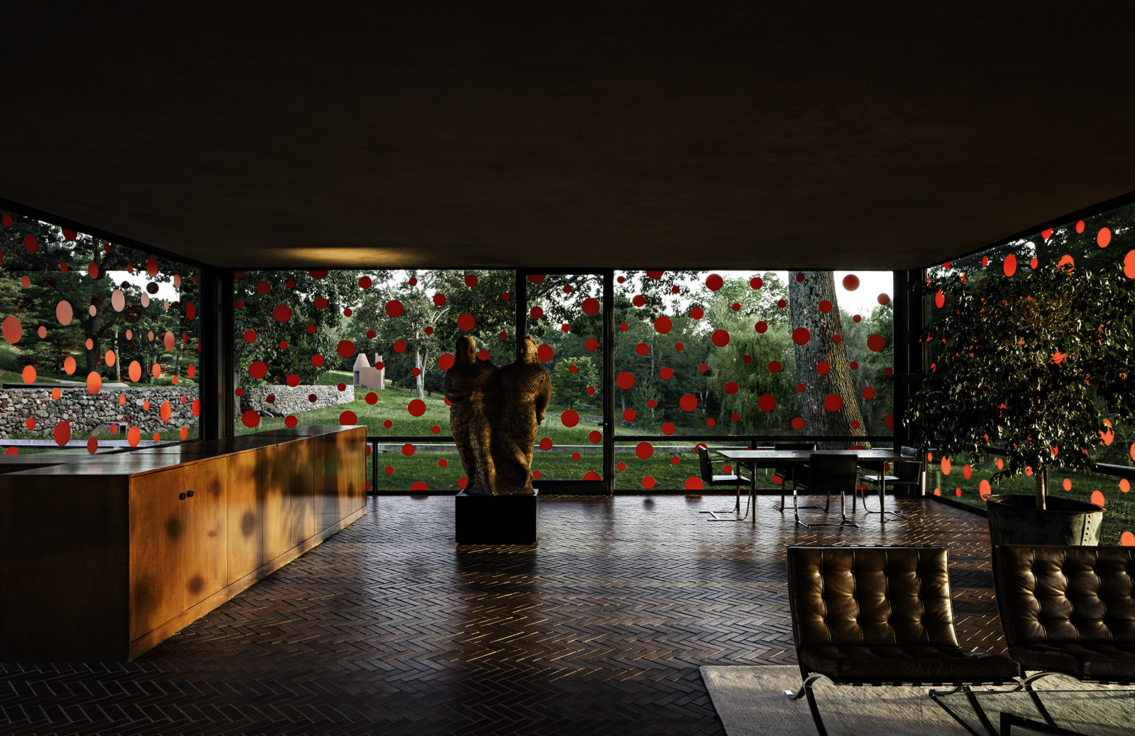 Yayoi Kusama's polka dot installation at Glass House