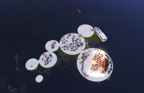Space Caviar designs floating stages for Mantua, Italy