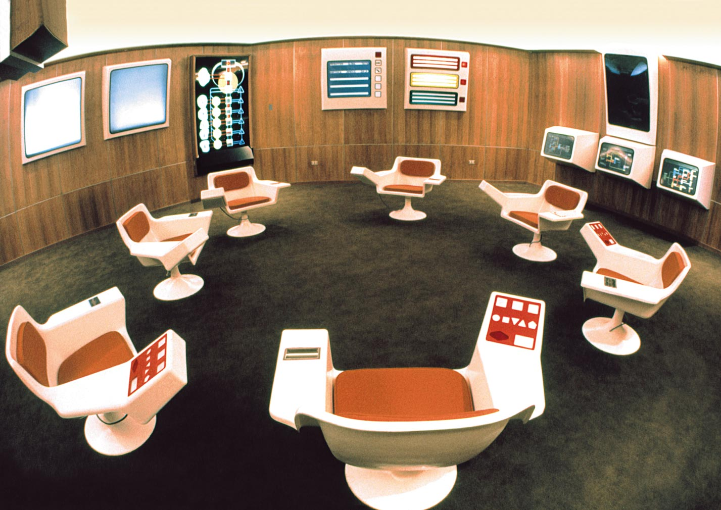 A historic photograph of the Cybersyn Operations Room