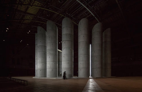 Taryn Simon and OMA install 11 concrete wells for mourners in Park Avenue Armory