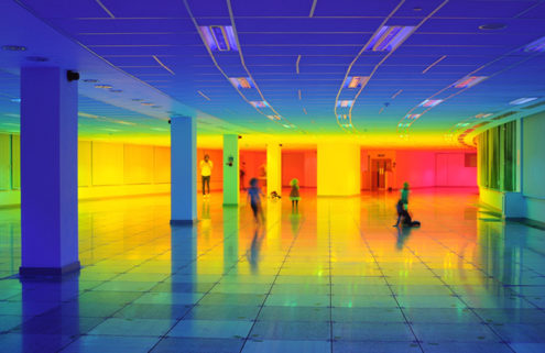 Artist Liz West creates a rainbow at the Bristol Biennial