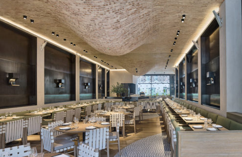 Fucina opens this week with a bulbous ceiling inspired by a pizza oven