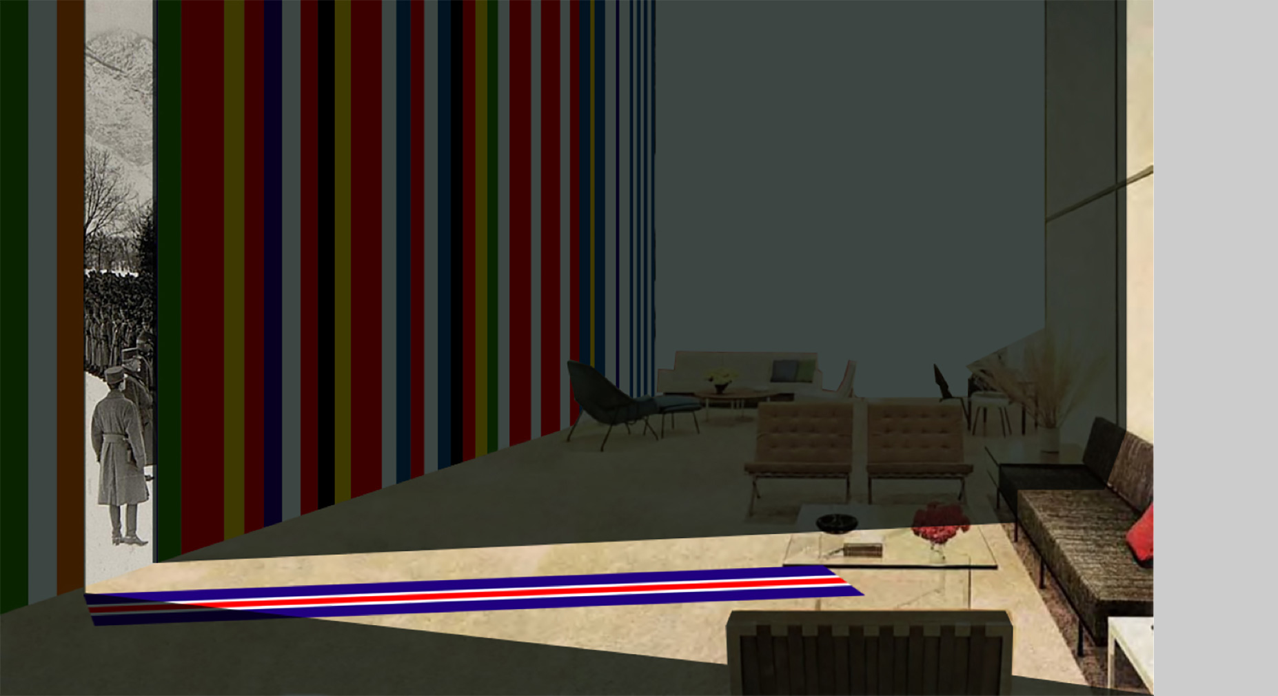 Pan-European Living Room installation sketch by OMA