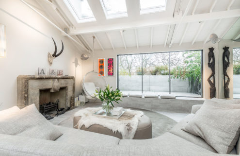 A light-filled London home with soaring ceilings is up for rent