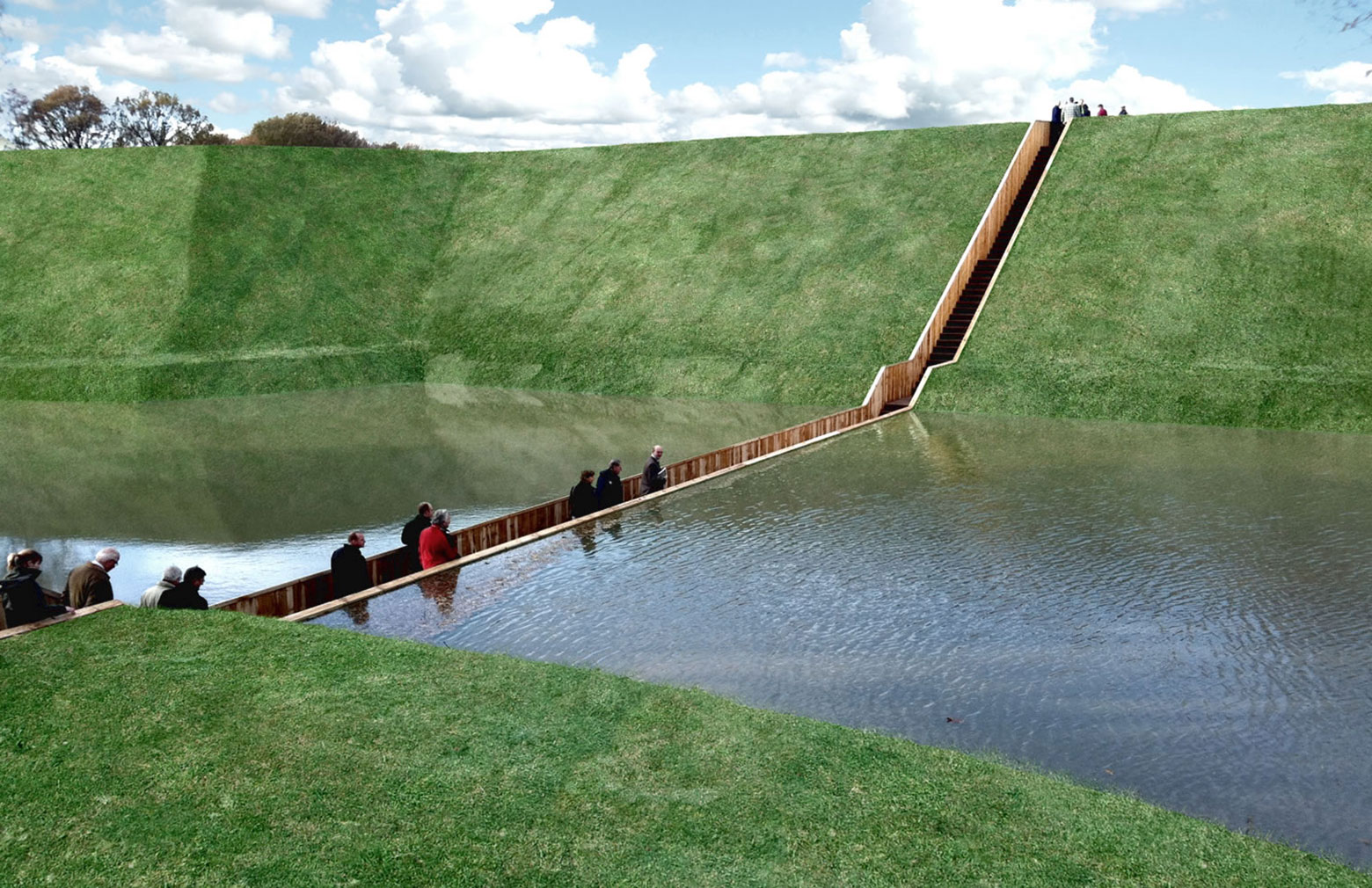 Sunken Bridge (Moses Bridge), Halstern, Netherlands, designed by RO & AD