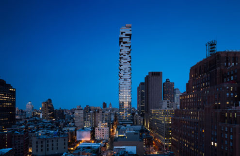 Brutalist interiors of Herzog & de Meuron's 'Jenga tower' revealed