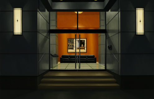 Edward Hopper miniatures hang inside these paintings of empty lobbies