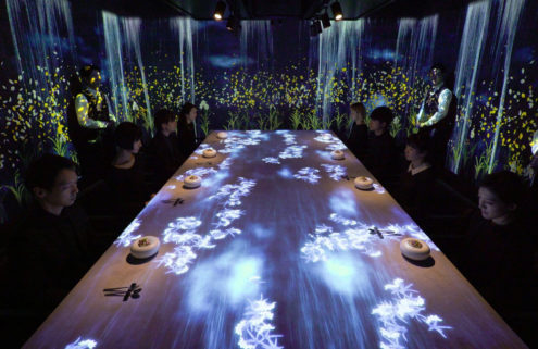 Plates spring to life in teamLab's new Tokyo restaurant installation