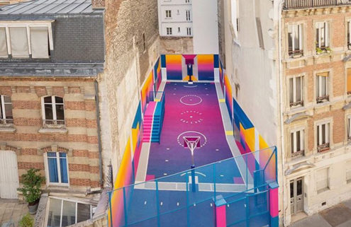 Paris' famous Duperré basketball court gets a psychedelic makeover