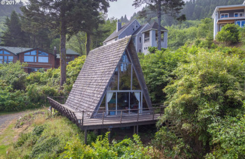 Classic A-frame beach cabin hits the market in Oregon for $315k