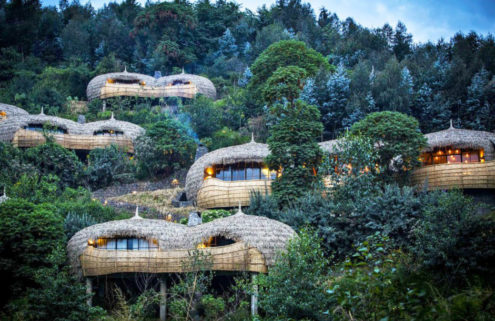Rwanda's eco-retreat Bisate Lodge is built into a volcanic cone
