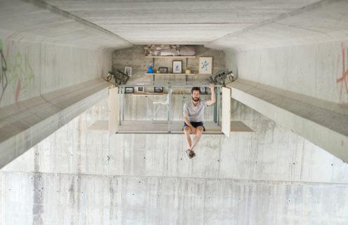 Fernando Abellanas designs a secret studio under a bridge in Spain