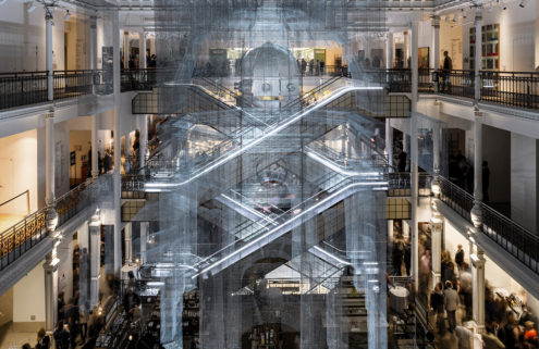 Artist Edoardo Tresoldi builds ghostly ruins inside Paris' Le Bon Marché