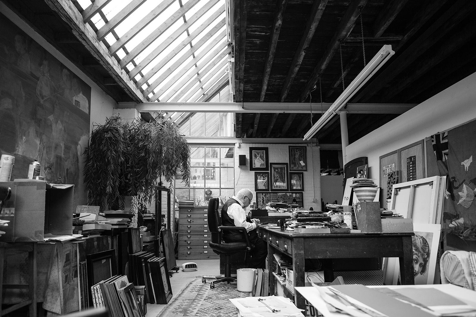 Peter Blake's studio. Courtesy of Waddington Custot. Photography: Cat Garcia